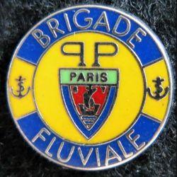 POLICE : Pin's de la brigade fluviale de Paris couleur fond jaune Boussemart