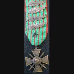 FRANCE : Croix de guerre 1914-1916 en bronze comportant 4 palmes et 1 clou -3-