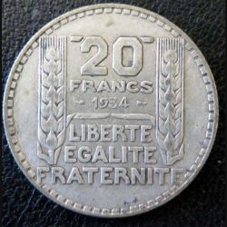 20 francs Turin argent 1934 occasion -4-