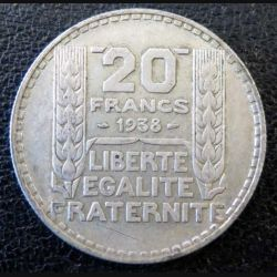 20 francs Turin argent 1938 occasion -8-
