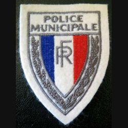 POLICE : Insigne de la police municipale en tissu 9,7 x 7,2 cm