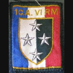 1° CA - VI° RM : insigne tissu du 1° CORPS D'ARMÉE VI° RÉGION MILITAIRE 5,7 x 7,5 cm