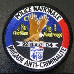 POLICE : insigne de la brigade anti-criminalité BAC 92 D4 de 8 cm de diamètre