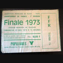 Billet de finale de championnat de France de Rugby 1° Division 20 mai 1973 Toulouse