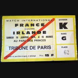 Billet de Match international France Irlande 1974 Parc des Princes