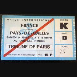Billet de Match international France Pays de Galles 1973 Parc des Princes