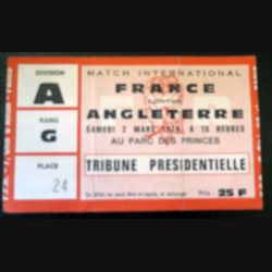 Billet de Match international France Angleterre 1974 Parc des Princes