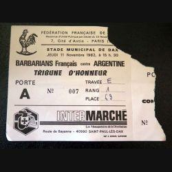 Billet des Barbarians Français contre Argentine FF Rugby 11 novembre 1982 Dax