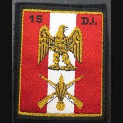 15° DI : insigne tissu de la 15° division d'infanterie sur feutrine
