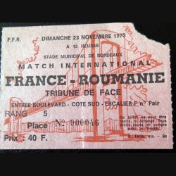 Billet de match international de rugby France Roumanie Bordeaux 23 Novembre 1975