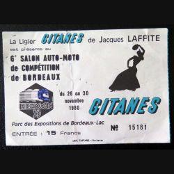 Billet du 6° salon auto moto de Bordeaux novembre 1980 avec Gitanes