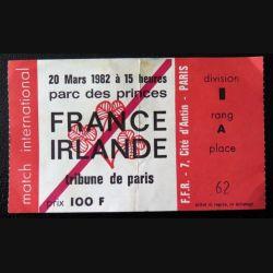 Billet France Irlande de Rugby Parc des Princes 20 mars 1982
