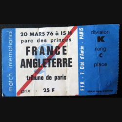 Billet de match de Rugby France Angleterre Paris 20 mars 1976