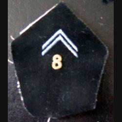 8° RT : Insigne tissu de col du 8° régiment de transmissions cadre en cannetille or