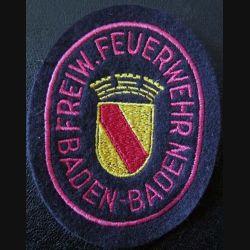 insigne tissu des sapeurs pompiers de Baden Baden de hauteur 10 cm
