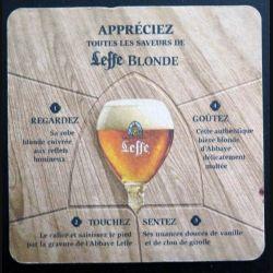 DESSOUS DE VERRE A BIÈRE : Dessous de verre à bière Leffe Blonde Abbaye de Abdij van de largeur 10 cm (C173)