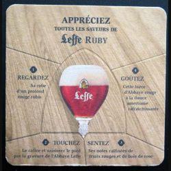 DESSOUS DE VERRE A BIÈRE : Dessous de verre à bière Leffe Ruby Abbaye de Abdij van de largeur 10 cm (C173)
