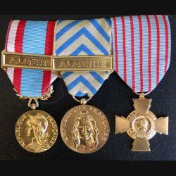FRANCE : Lot de 3 médailles époque Algérie commémorative, reconnaissance de la Nation et Croix du combattant