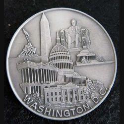 USA : médaille de table Washington D.C en métal argenté dos feutrine