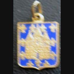 BLASON MELUN : insigne métallique ancien blason en émail de la ville de Melun 11 x 16 mm avec pendentif