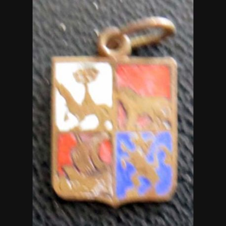 BLASON INCONNU : insigne métallique ancien blason en émail 11 x 16 mm avec petit anneau de suspension