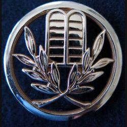 INSIGNE DE BERET  : Insigne de béret d'aumônier israélite dos embouti en métal doré