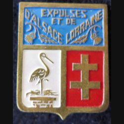 ALSACE LORRAINE : insigne métallique des expulsés d'Alsace et de Lorraine fabrication locale laiton peint