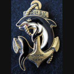 21° RIC : insigne métallique du 21° régiment d'infanterie coloniale de fabrication Drago O. Metra déposé émail