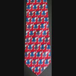 Cravate made in Italy 100 % soie à dominante rouge avec éléphants blancs et bleus (C176)