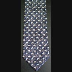 Cravate retro 100 % polyester à dominante noire larmée or et tâches bleues (C176)