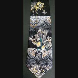 Cravate retro 100 % polyester à dominante noire avec motifs colorés (C176)