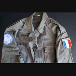Chemise verte armée portée en opérations dans les pays chauds (Liban, Afrique) avec insignes ONU et France taille 39/40 (C181)