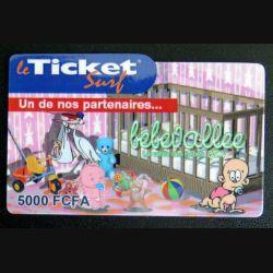 TELECARTE : télécarte TICKET SURF 5000 FCFA Bébévallée neuve