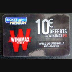TELECARTE : télécarte TICKET PREMIUM 10 € Offerts sur Winamax
