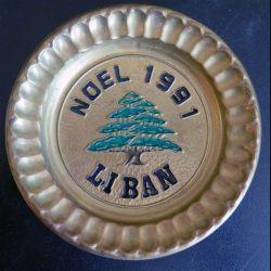 LIBAN : plateau de 12,5 cm de diamètre Noël 1991 Liban