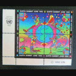 UN ONU : Planche de 4 timbres neufs de l'ONU Earth summit June 1992