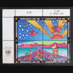 UN ONU : Planche de 4 timbres neufs de l'ONU Umweltgipfel  Juni 1992