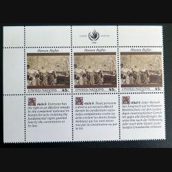 UN ONU : Planche de 3 timbres neufs de l'ONU Human Rights article 8