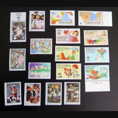 UN ONU : Planche de 17 timbres neufs des Nations Unies 1992 et 1993