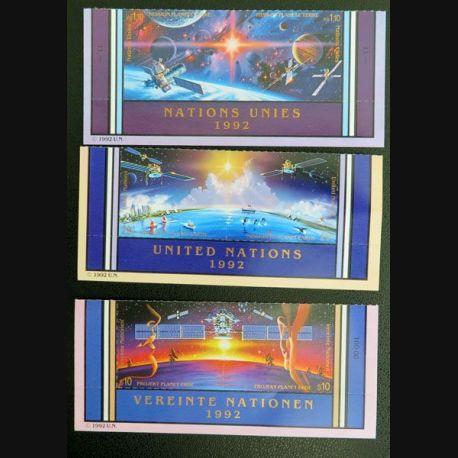 UN ONU : Planche de 3 x 2 timbres neufs des Nations Unies 1992 sur mission planète terre