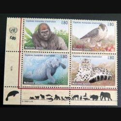 UN ONU : Planche de 4 timbres neufs des Nations Unies 1993 sur les espèces menacées d'extinction