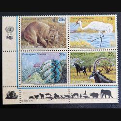 UN ONU : Planche de 4 timbres neufs des Nations Unies 1993 Endangered Species