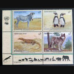 UN ONU : Planche de 4 timbres neufs des Nations Unies 1993 Gefährdete Arten