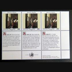 UN ONU : Planche de 3 timbres neufs de l'ONU Human Rights article 19