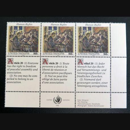 UN ONU : Planche de 3 timbres neufs de l'ONU Human Rights article 20
