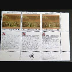 UN ONU : Planche de 3 timbres neufs de l'ONU Human Rights article 21