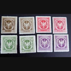 POLOGNE : Planche de 8 timbres neufs de Legionistom Polskim 1916