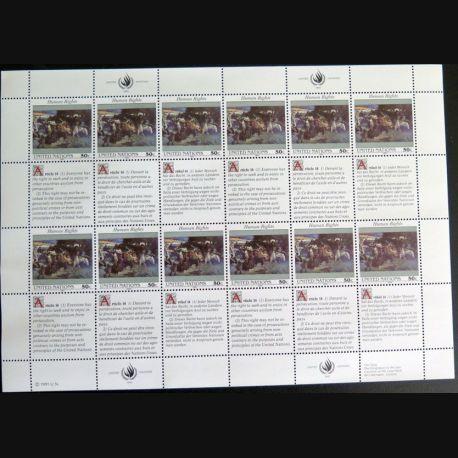 UN ONU : Planche de 12 timbres neufs de l'ONU Human Rights article 14