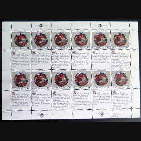UN ONU : Planche de 12 timbres neufs de l'ONU Human Rights article 13