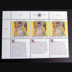 UN ONU : Planche de 3 timbres neufs de l'ONU Human Rights article 18